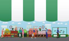 Street food festival concept vector banner. People sell from stalls Stock Illustration