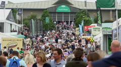 STALLS CROWS OF PEOPLE THE GREAT YORKSHIRE SHOW Stock Footage