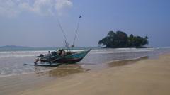 FISHING BOAT TAPROBANE WELIGAMA SRI LANKA ASIA Stock Footage