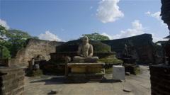 BUDDHIST STATUE VATADAGE POLONNARUWA SRI LANKA Stock Footage
