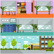 Vector set of school concept banners. Interior, classroom, yard, building and Piirros