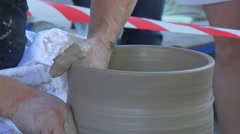 Man is Molding a Vase Doing Show For Tourists Worker is Making a Pot Dirty Stock Footage