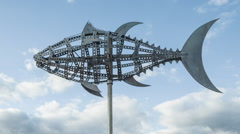 Fish art sculpture surf tarifa andalusia spain Stock Footage