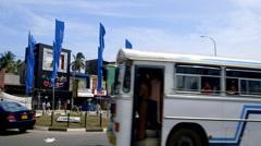 BUSES TUC TUCS TRAFFIC TANGALLA SRI LANKA Stock Footage