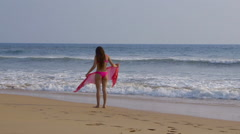 MODEL ON WINDY BEACH PINK BIKINI BENTOTA SRI LANKA Stock Footage