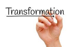 Transformation Hand Black Marker - stock photo