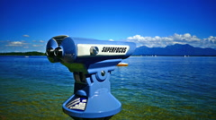 Super focus telescope in Prien Chiemsee lake Germany Beautiful day Stock Footage