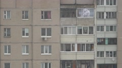 Panel house, moving out of the window curtains Stock Footage