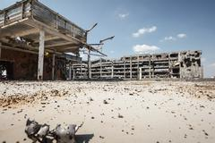 Wide angle view of donetsk airport ruins Stock Photos
