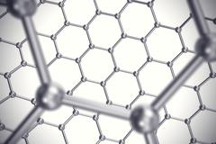 Graphene nanostructure sheet at atomic scale. 3d illustration Stock Illustration