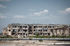 View of donetsk airport ruins - stock photo
