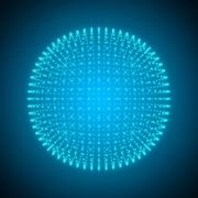 The sphere consisting of Points. Abstract Globe Grid. 3d Illustration Stock Illustration