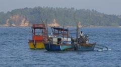 FISHING BOATS IN WEIGAMA BAY SRI LANKA Stock Footage