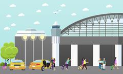 Taxi service company vector concept banner. People catch yellow cab in airport - stock illustration