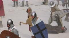 Medieval battle assault Stock Footage