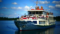 Commuters Tour boat ferry arriving Prien Chiemsee lake Germany Beautiful day Stock Footage