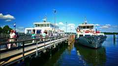 Time Lapse Commuters Tour boat ferry Prien Chiemsee lake Germany Beautiful day Stock Footage