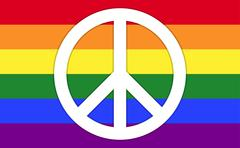 Rainbow Flag With Peace Symbol Stock Illustration
