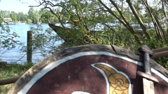 Tilt replica of medieval shield and sword - stock footage