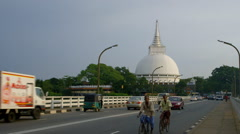LARGE WHITE STUPA FROM BRIDGE KALUTARA SRI LANKA Stock Footage
