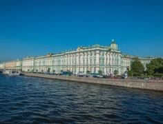 The Camera Moves On The Palace Bridge And Shooting A Hermitage Museum timelaps Stock Footage