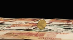 Coin Ten Rubles To Spin On The Bills In Slow Motion Stock Footage