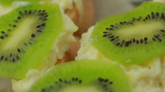 Sandwich with cheese and kiwi paste of garlic and parmesan - stock footage