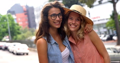 Friends posing for photograph Stock Footage
