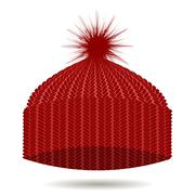 Red Knitted Cap. Winter Hat - stock illustration