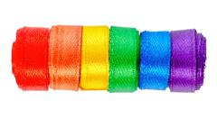 concept gay culture symbol with ribbons roll, sign gay LGBT community is isol - stock photo