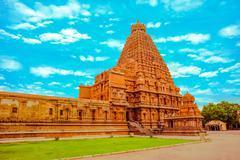 Fantastic art design of view at tower Hindu Brihadishvara Temple, India, Tami Stock Photos