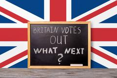 Brexit UK EU referendum final results concept for out of Great Britain from r Stock Photos