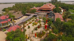 Aerial view Vietnamese temple 3 Stock Footage