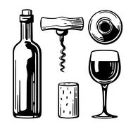 Bottle, glass, corkscrew, cork. Side and top view. Black and white vintage Stock Illustration