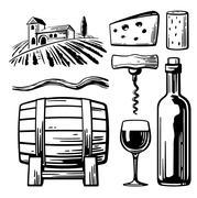 Rural landscape with villa, vineyard fields and hills. Bottle, glass, corkscrew Stock Illustration
