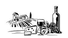 Rural landscape with villa, vineyard fields and hills. Bottle, glass, cork Stock Illustration