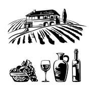 Rural landscape with villa, vineyard fields and hills. Basket with grapes, a Stock Illustration