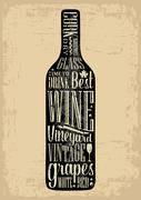 Typography poster lettering text in silhouette Wine bottle. Vintage vector - stock illustration