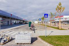 Pedestrian crossing, Road sign Stock Photos
