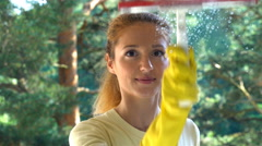 Young attractive woman cleaning a window. Dolly shot. Stock Footage