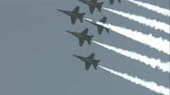 Blue Angels Inverted Performing the Delta Roll in Slow Motion Stock Footage