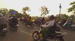 Vietnam city traffic motorcyclists 2 Stock Footage