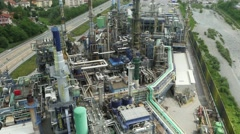 Awesome aerial drone shot of a huge refinery Stock Footage