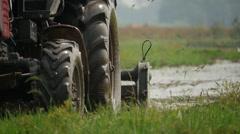 Vietnam tractor rice fields 3 Stock Footage