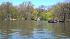The Lake at NYC Central Park with rowboats. USA - stock footage