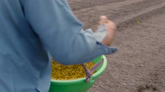 Vietnamese farmer in rice sowing manual Stock Footage