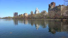East part of Jacqueline Kennedy Onassis Reservoir at NYC Central Park. USA Stock Footage