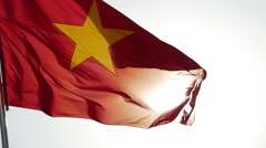Vietnamese flag waving in the wind 1 Stock Footage