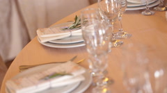 Decorated table for a wedding dinner, beautiful table setting Stock Footage