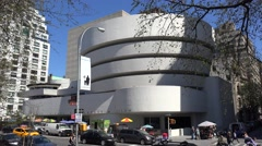 Solomon R. Guggenheim Museum from Fifth Avenue.  NYC, USA - stock footage